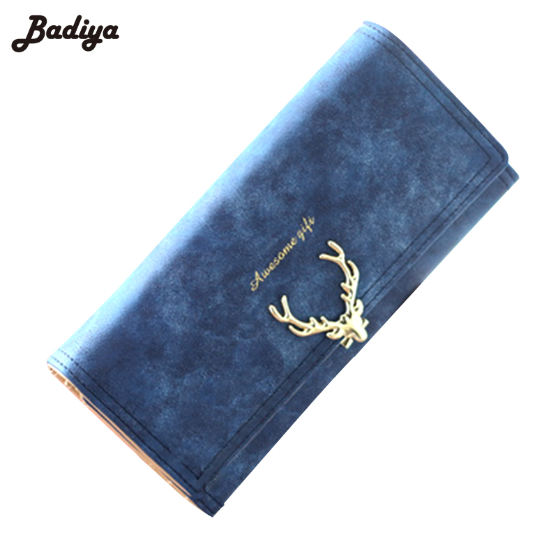 Deer Women's Long Wallet Fresh PU Leather Coin Purse Ladies Elegant Card Holder Multifunction Female Mini Phone Clutch Bag Gift