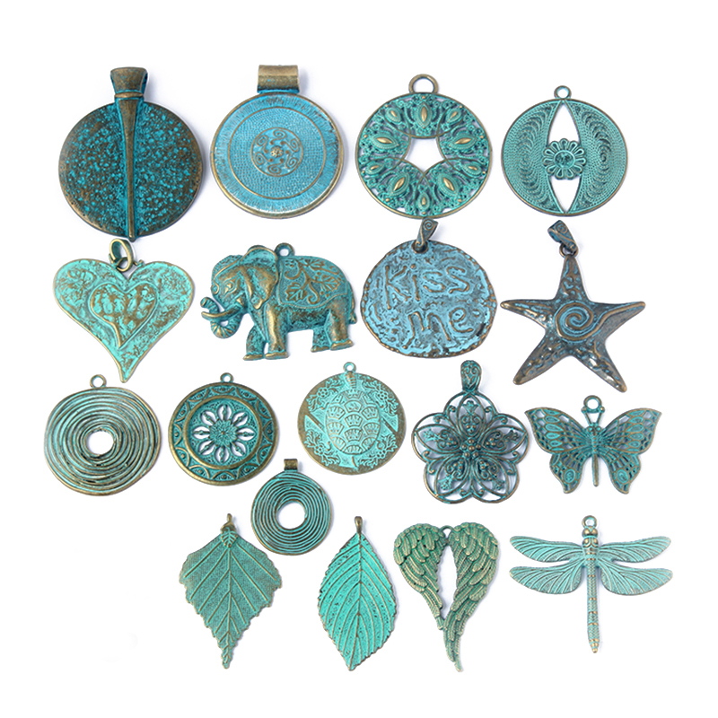 5 Leaf Pendant Large Charms Brass Turquoise Verdigris Patina Effect Findings UK