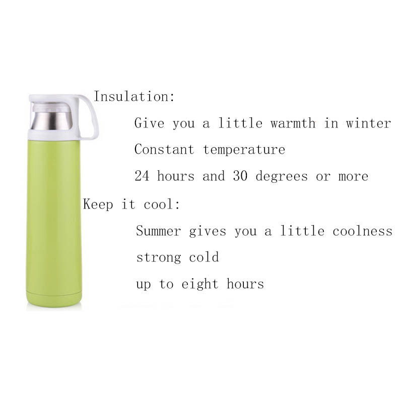 US $12 99 |New Kpop BTS Collective Style Logo Double layer stainless steel  vacuum flask 24 hour insulation cup 500ml Tender green-in Hoodies &