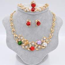 Sunny Jewelry Fashion Jewelry 2019 Bridal Jewelry Sets For Women Big Flower Necklace Earrings Ring Bracelet For Wedding Party(China)