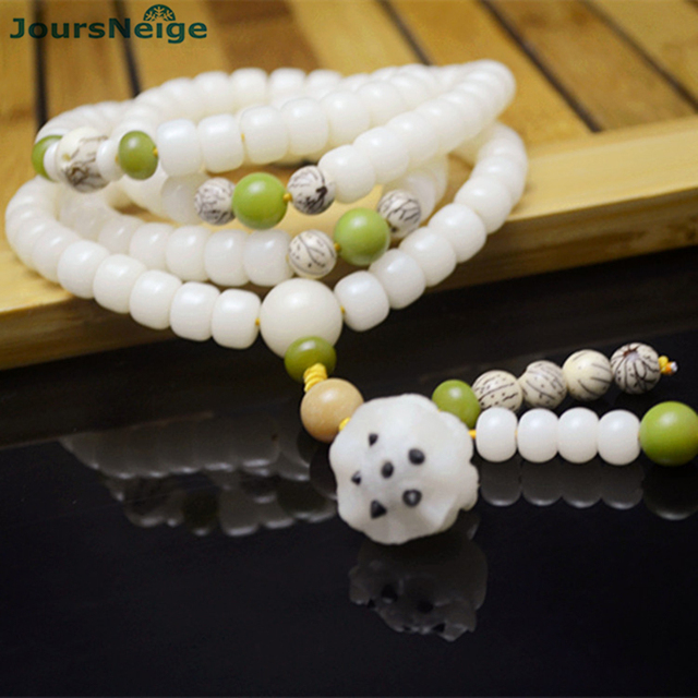 Natural White Bodhi Seed Bracelets Carved Lotus Flower Root Pendant