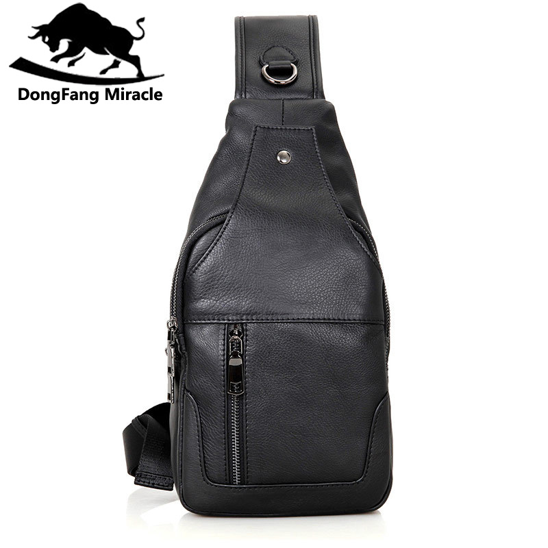 DongFang Miracle 100% Real Cow Leather Chest Bags For Mens Crossbody Sling Bag Boy's Shoulder Bag Popular Satchels-in Waist Packs from Luggage & Bags    1
