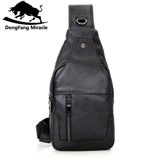0453d67a55 DongFang Miracle 100% Real Cow Leather Chest Bags For Mens Crossbody Sling  Bag Boy s Shoulder Bag Popular Satchels