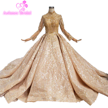 Custom Made 2019 Luxury High Neck Champagne New Middle East Wedding Dress Gold Lace Appliqued Long Sleeves Arabic Bridal Gowns