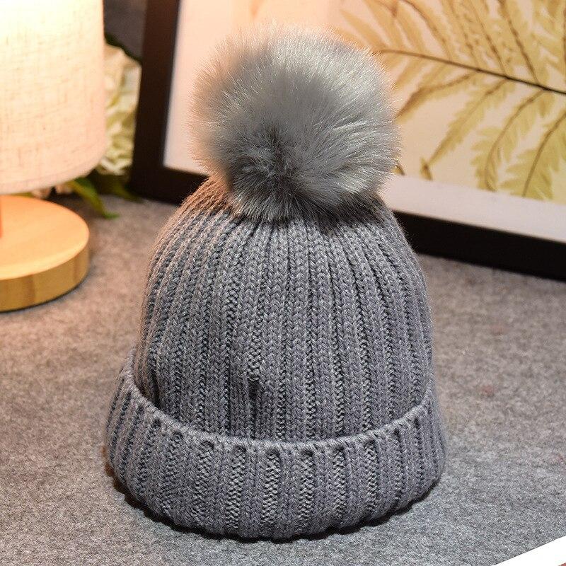 Children Winter Fake Fur Ball Hat Baby Beanies Cap Crochet Kids Knitted Babies Hats Solid Christmas Boy Girl Winter Hat Toddler