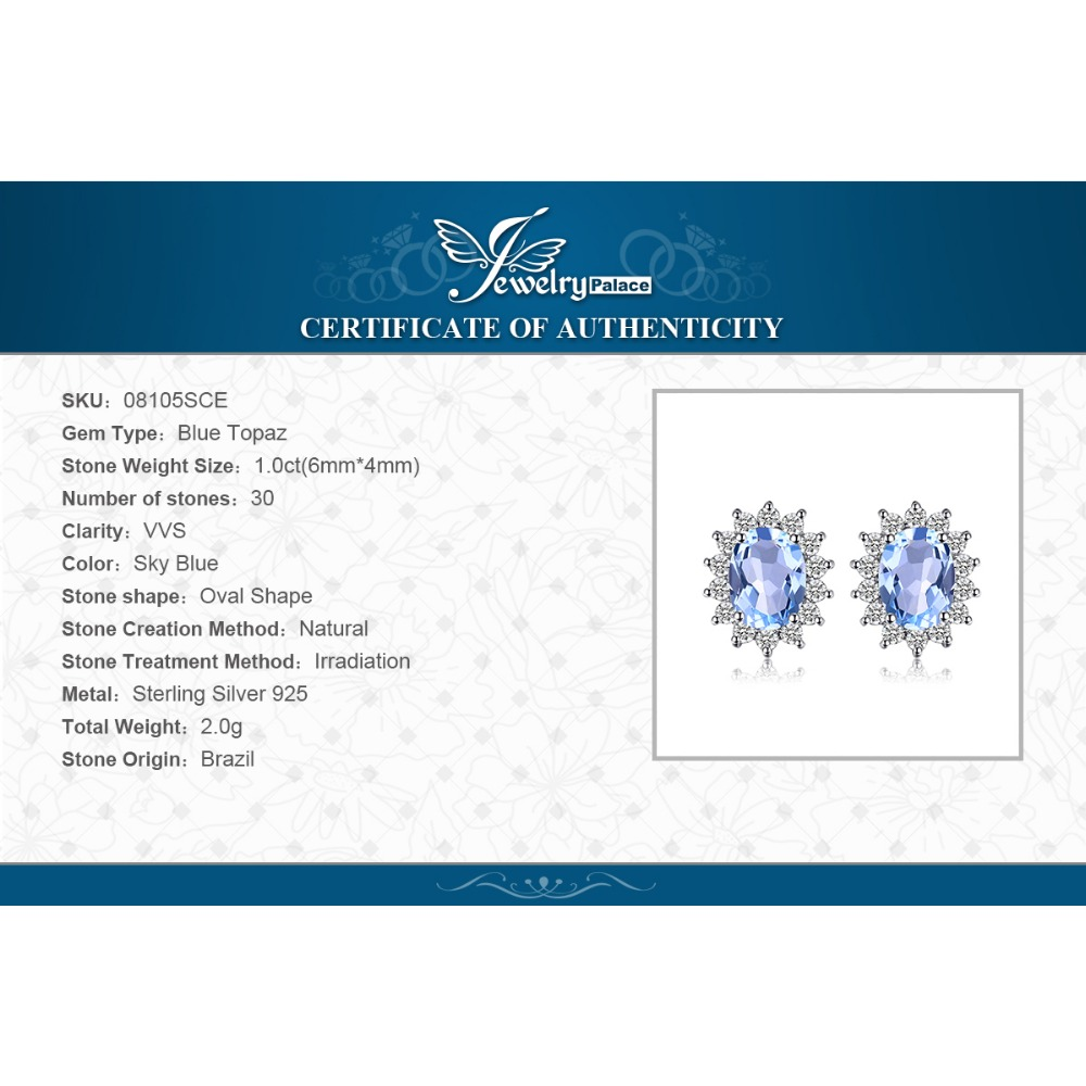 JewelryPalace Natural Topaz Gemstone Sırğalar Stud Orijinal 925 - Gözəl zərgərlik - Fotoqrafiya 6