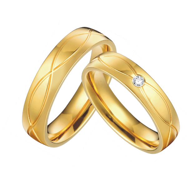 gold color health jewelry titanium steel vintage engagement wedding rings sets for men women anel alliance in rings from jewelry accessories on - Gold Wedding Rings For Women