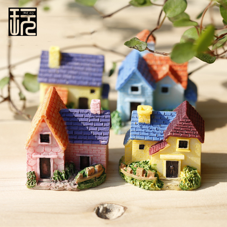 Zakka Resin Mini Villa Model House Ornament Crafts DIY Fairy Garden Miniatures Home/ Succulents/ Micro Moss Landscape Decoration