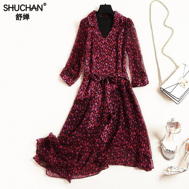 2019 Femmes Genou Streetwear Multi Designer Pour Supérieure longueur Qualité 10659 Longues Shuchan Asymétrique De cou Robes V qzfgtI