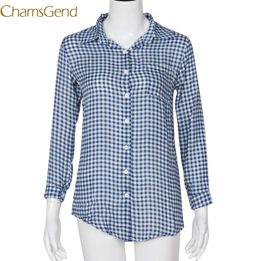 In Flavor Purposeful Durable 2017 Hotselling Cotton+spandex Plaid Print Blouse Feminine Shirt Casual Blouse Women Tops B15 A#487 Fragrant