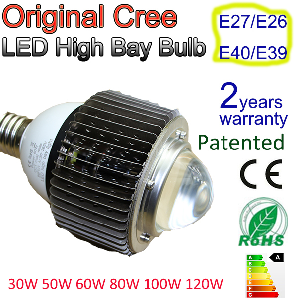 LED High Bay Retrofit 30W 50W 60W Standard Light Bulb Fitting E27/E26E39/E40 Compact Desgin, high power LED Bulb