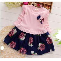 2017 Baby Girl Clothing Autumn Girls Pleated Dresses Children Princess Yarn Flower Plus Velvet Cotton Clothes