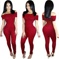 Fashion women jumpsuit 2016 new autumn 4 colors short sleeve slash neck sexy party club wear skinny bodycon jumpsuit