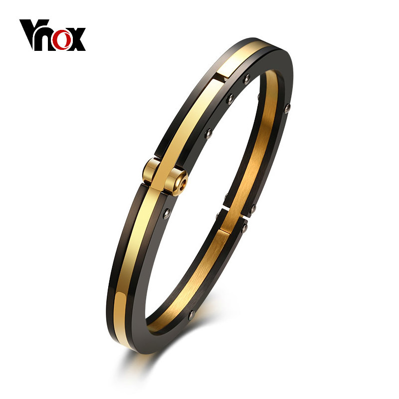 все цены на Vnox 7mm Stylish Closure Cuff Bracelet for Men Bangle Stainless Steel Classic Simple Male Jewelry Black & Gold Color Bijoux