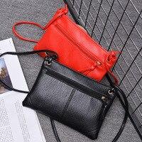 Simple Black Shoulder Bag Women S Handbag Pu Leather Lady Spring Summer Messenger Bags Zipper Envelope