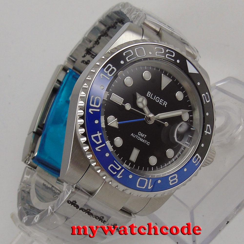 40mm Bliger black dial ceramic bezel GMT sapphire glass automatic mens watch 176 цена и фото