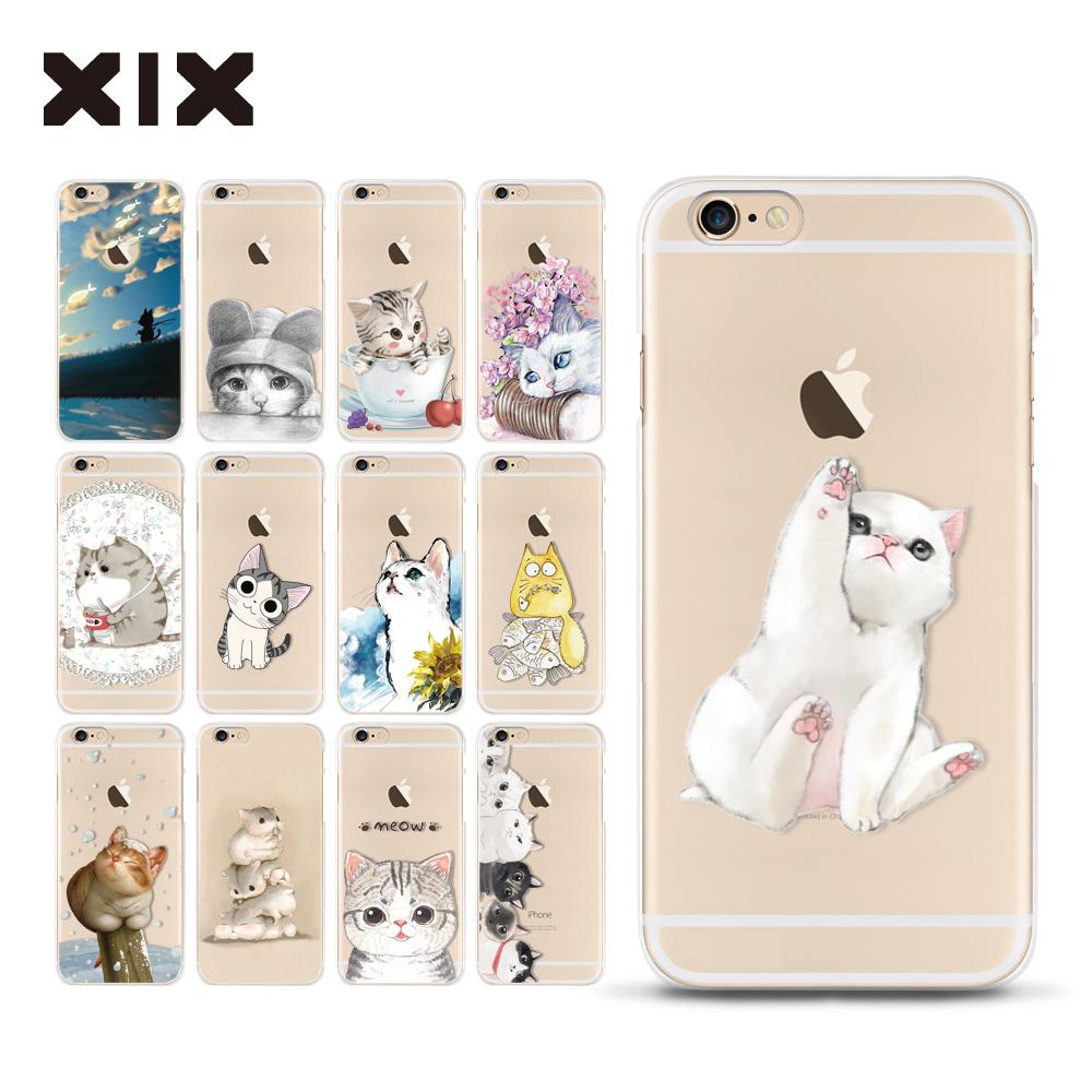 For fundas iPhone 6S case 5 5S 6 6S 7 Plus Cute Cats soft silicone TPU