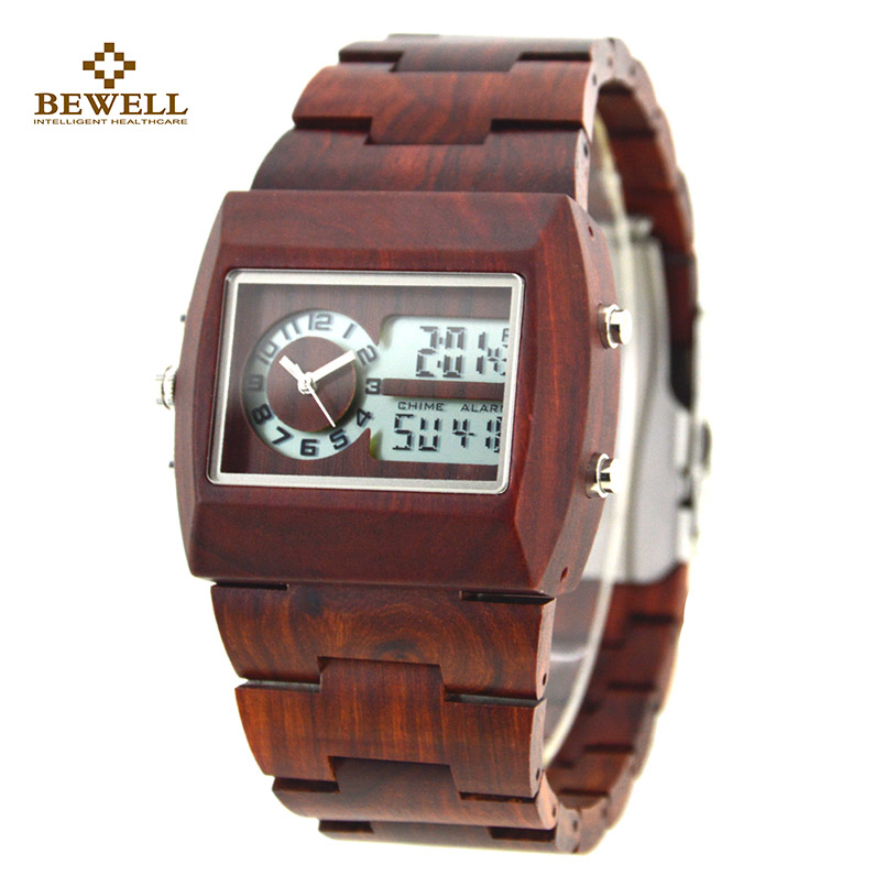 BEWELL Unique Zebra Maple Wood Watch Luxury Wood Watches with Wooden Strap Wooden Men's Wristwatches for Your Family Gift 021A