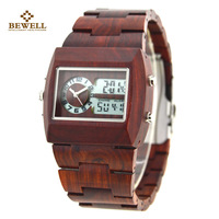 Men's WaterProof Maple Led Wood Watch BEWELL Luxury Dual Display Digital Clock Wood Strap Boy Watches Gift For Dad Or Son 021A