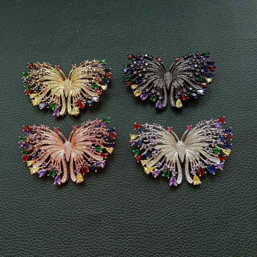1 pc 38x60mm plaqué or multi couleur Cz micro broche papillon