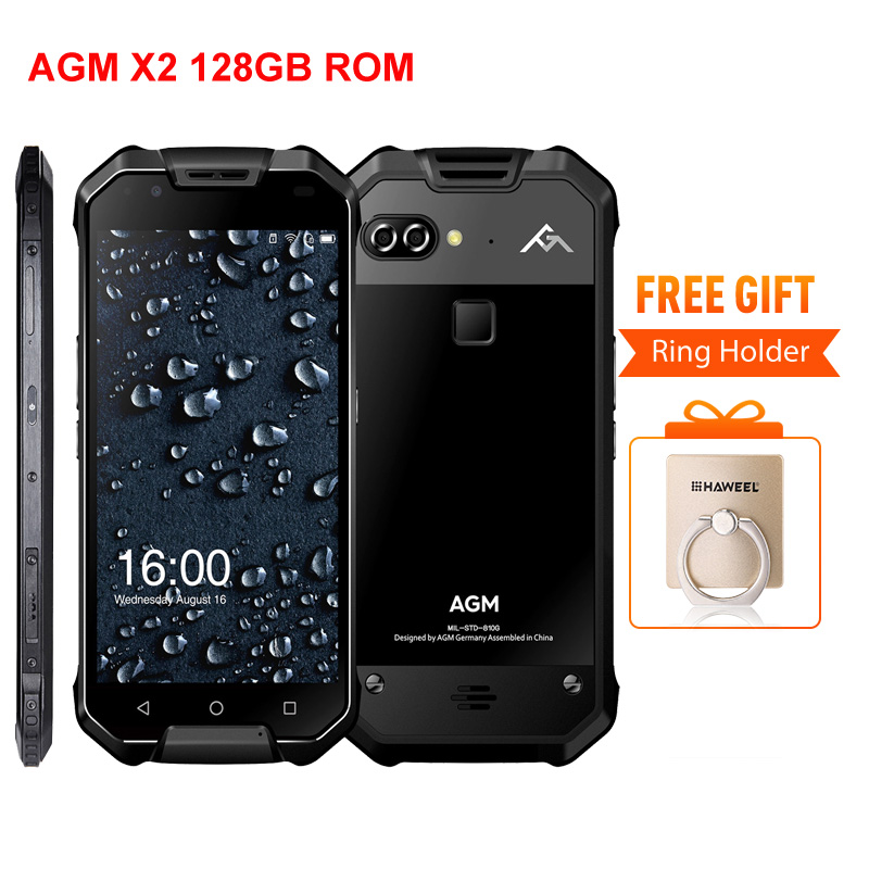 "AGM X2 6+128GB IP68 Waterproof Mobile Phone Snapdragon 653 Dual 12MP Rear Cameras 16MP Front 6000mAh 5.5"" FHD 4G Lte Dustproof"