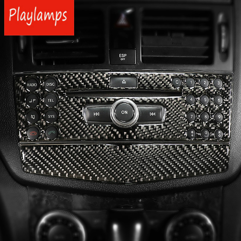 Carbon fiber interior stickers Car Air conditioning CD Control Panel Decal Covers for mercedes Benz C class W204 2007 2010