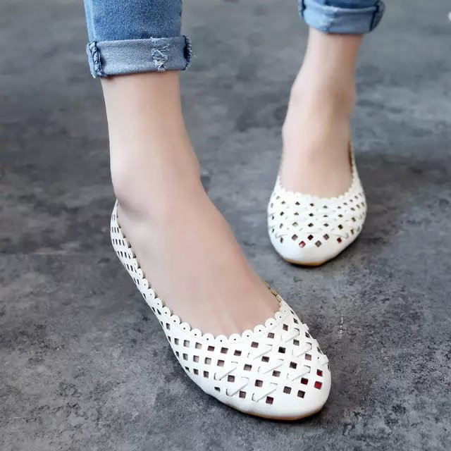 Summer style Women Ballet Flats Round Toe Slip on Shoes Cut-outs Flats Shoes White Sandals Woman Loafers zapatos mujer 852 2017 new fashion women summer flats pointed toe pink ladies slip on sandals ballet flats retro shoes leather high quality