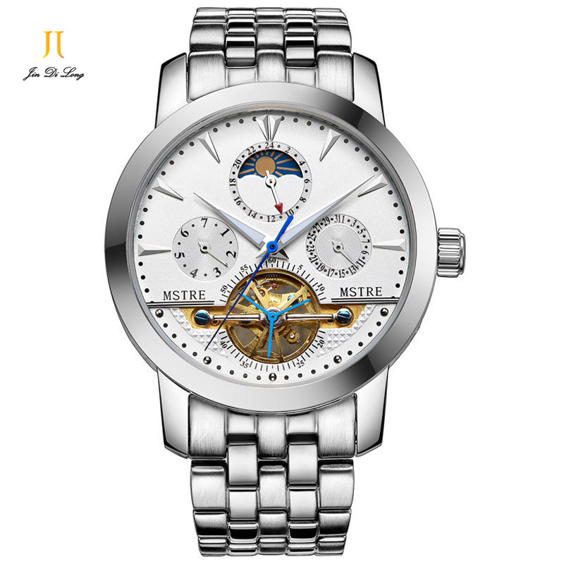 купить Classical Fashion Business Casual Watch Men's Automatic Self-wind Wrist Watches Tourbillon Moon Phase Hollow Out Calendar онлайн
