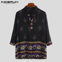 INCERUN 2019 Fashion Men Stand Collar Pullover Print Ethnic Style Long sleeved Shirt Loose Casual Streetwear Features Camisas