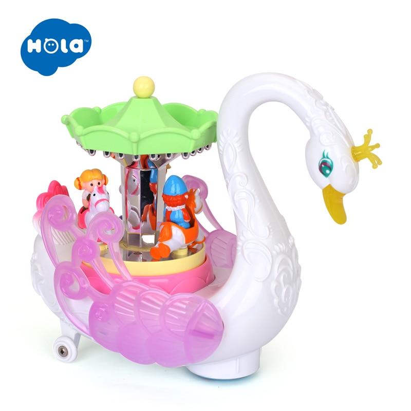 HOLA 536 enfants électronique animal de compagnie clignotant Musical dessin animé électrique universel cygne carrousel boîte à musique jouets éducatifs pour les enfants - 5