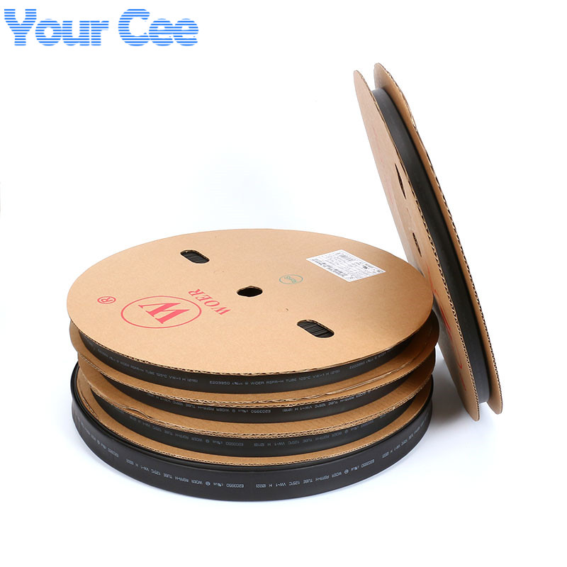 A Roll 100m 2:1 Sleeving Hot Heat Cable Protection Heatshrink Tubing Heat Shrink Tube Color Black 5mm-22mm