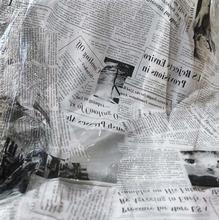 142cm Creative fashion English newspaper printed transparent TPU waterproof windbreaker PVC wrapped fabric Street pattern C187