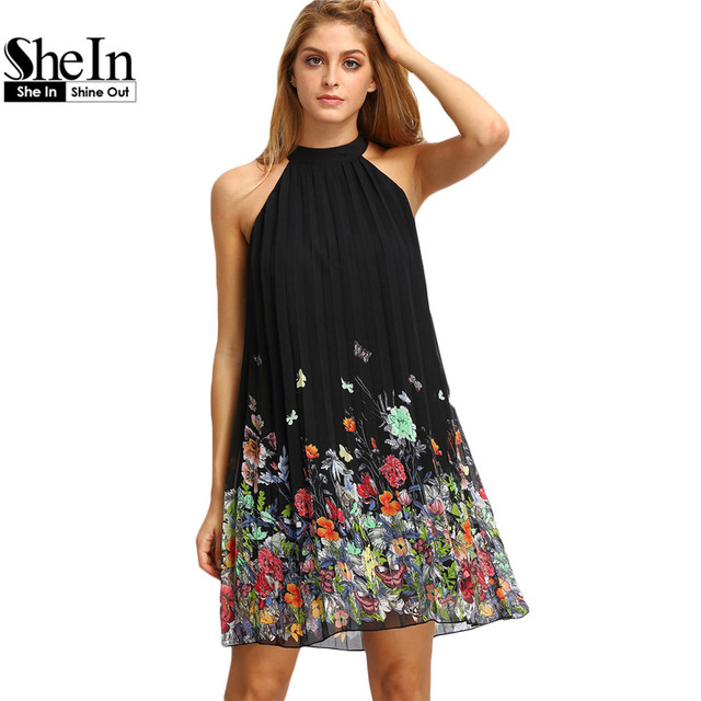 8feddb568 Shein vestido de la nueva mujer 2016 verano negro sin mangas de cuello  redondo ropa mujer Casual impresión Floral cortada vestidos Shift en  Vestidos ...