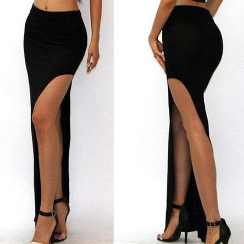 New Fashion Charming Sexy Women Lady Long Skirts Long High Waist High Slit Maxi Skirt Black Open Side Split Skirt