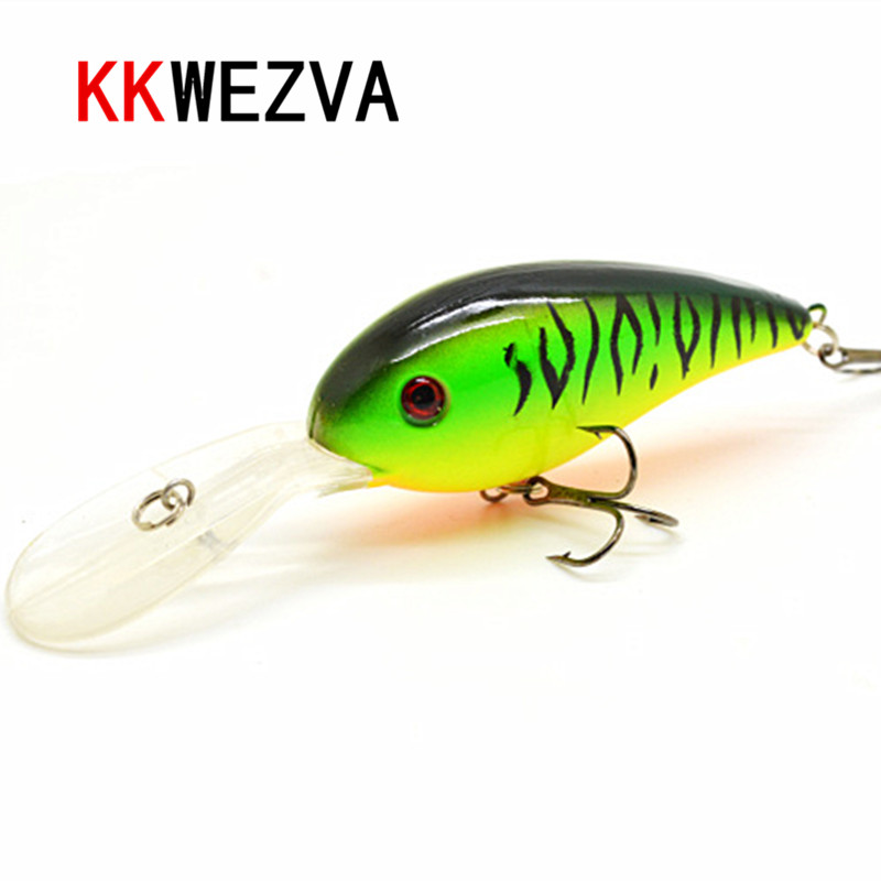 KKWEZVA 15G 10.5cm Big Temptation Fiske Lures Minnow Crank Bait Crankbait Bass Tackle Treble Hook Bete Wobblers Fiske