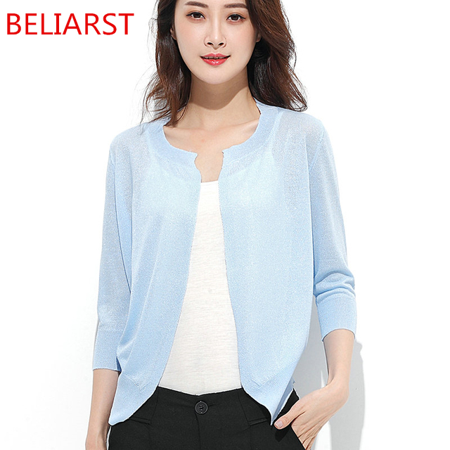 d6fc9d63e0e BELIARST 2017 Summer New Woman Sweater Round Neck Cardigan Self-Cultivation  Style Air-Conditioned Shirt Shawl Jacket