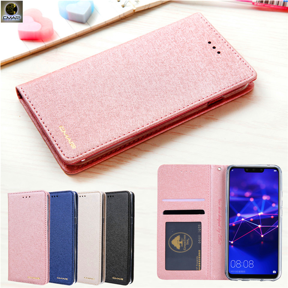For Huawei Mate 20 Lite Case Silk Leather Magnetic Flip Wallet Phone Cover For Huawei Mate 20 Lite Case Credit Card Book Coques