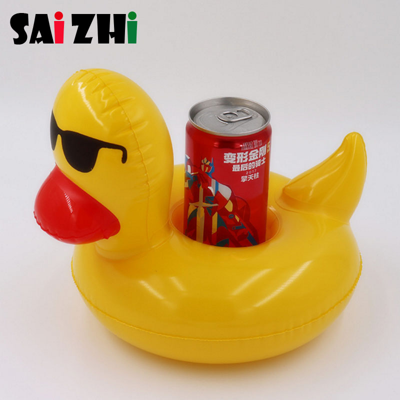 Saizhi 1pcs Inflatable Yellow Duck Pool Drink Float Toys Cup Holder For Kids Bath Sea Water Beach Party Coasters SZ0417