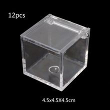 12Pc Transparent Acrylic 5 Sided Display Storage Box Case Square Cube Props Box Y4QB