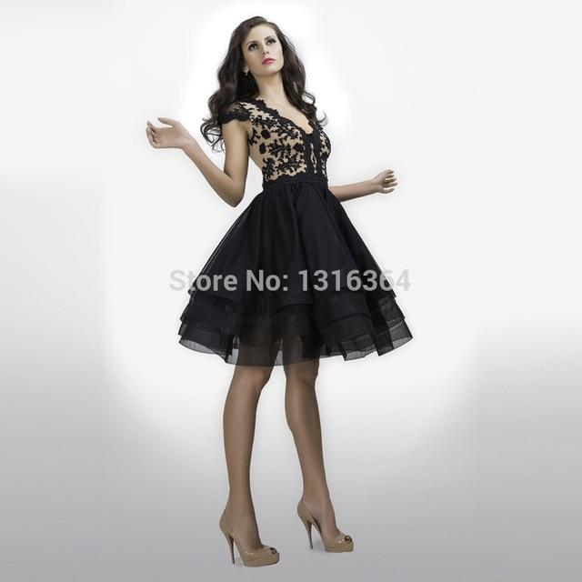 9ab0093e9c3e11 Rare black korte homecoming jurk met decollete a-lijn puffy organza rok  hollow terug applicaties