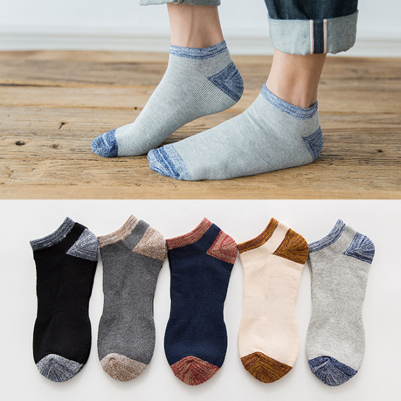 Qiukolz Cotton Socks Men Solid Color Fashion Male Boat Socks Shallow Mouth Absorb Sweat Man Short Socks 10pairs/lot