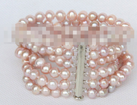 00913 6row 8 pink pearls bracelet magnet clasp