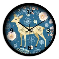 Blue Creative Cute Deer Clock Quiet Living Room Study Household Decorations Cartoon Wall Clock