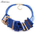 Miwens 2016 New Fashion Jewelry Women Multicolor Wood Statement Necklace Collier Collar Choker Necklaces & Pendants 6606