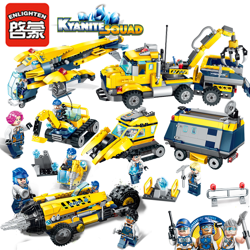 Enlighten City Educational Building Blocks Toys For Children Gifts New Kyanite Team Car Compatible With Legoe 196pcs building blocks urban engineering team excavator modeling design