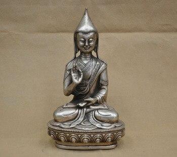 8''China Tibet Buddhism Tsongkhapa Lama Monk Guru Buddha Silver Bronze Statue Decorative Gifts Festive Presents Friendship Gifts