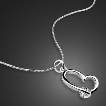 cfb4b41b8a25 Moda clásica 925 collar con forma de corazón plateado. ¡Colgante de circón!  collar de plata sólida para mujer. dama de joyería de plata