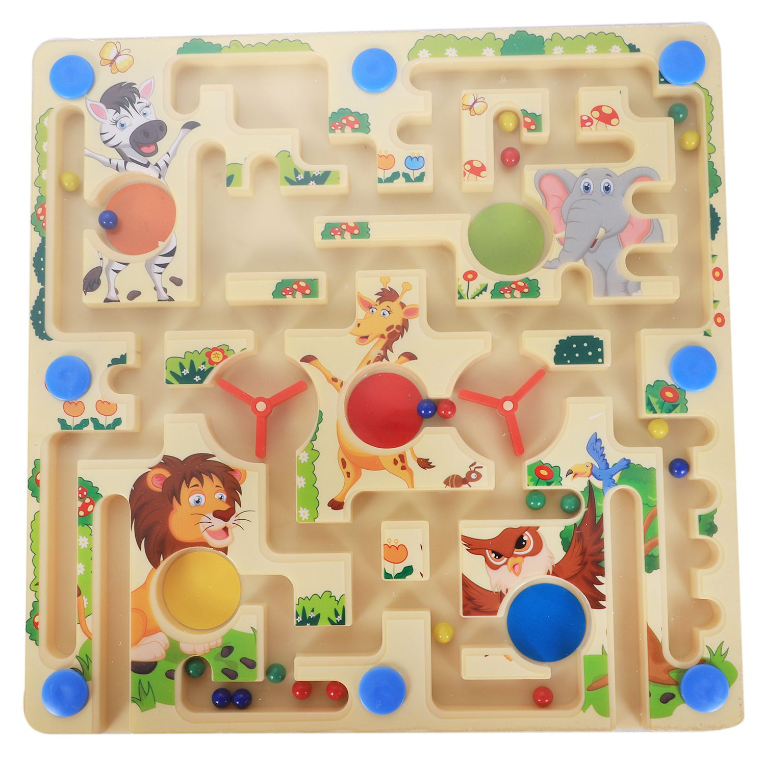 MWZ 2 In 1 Magnetic Maze With Flying Chess Double-faced Labyrinth Maze Educational Interactive Toys, Forest