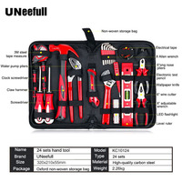 UNeefull 24 Pieces Multi-function Home Combination Hardware Hand Repair   Tool   kits, Woodworking&electrician Pliers Wrench,Hammer