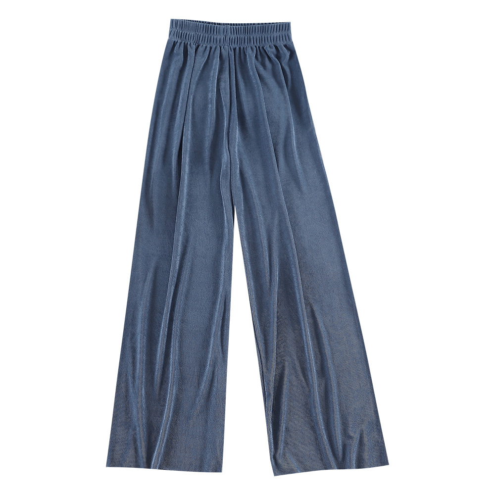 Ankle-length Casual Loose Elastic Waist   Wide     Leg     Pants   High-waist Broad-legged   Pants   For Women Summer Thin Solid Color Ol   Pants